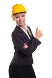 Lady in saftey hat thumbs up Royalty Free Stock Images