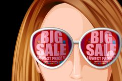 Lady with Sale reflection on Goggles Stock Photos