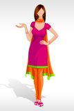 Lady in Salwar Suit vector illustration