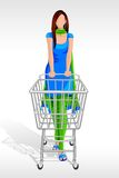 Lady in Salwar Suit with Shopping Cart Royalty Free Stock Photo