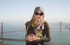 Lady in San Francisco with Golden Gate Brid Royalty Free Stock Image