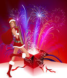 Lady Santa Claus with fireworks. Pyrotechnics from Lady Santa. lady santa with gifts. Gifts from Santa Claus Lady vector illustration