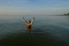 Lady in sea water Stock Photo
