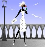 Lady and seagulls Royalty Free Stock Image