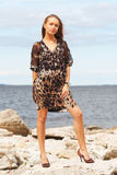 Lady on a seashore Royalty Free Stock Image