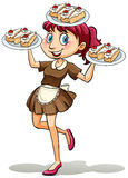 Lady selling cakes. In a plate on a white background vector illustration