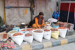 Lady selling dryfruits in Ladakh - Kashmir Royalty Free Stock Photography