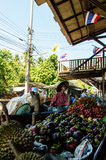 Lady selling fruit from her boat at Floating Market, Royalty Free Stock Images