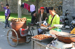 Lady selling hot chestnuts Royalty Free Stock Photos