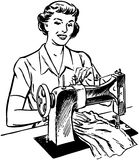Lady Sewing Stock Photography