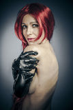 Lady, Sexy red hair woman with latex gloves. Luxury, Sexy red hair woman with latex Royalty Free Stock Photo