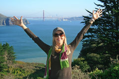Lady in  SF, Golden Gate Bridge Royalty Free Stock Photography