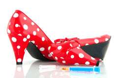 Lady shoes with drugs Stock Photography
