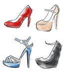 Lady shoes Sketched woman's shoe  illustration collection of fashion high heels shoes.  Stock Photography