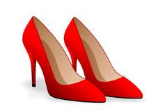 Lady shoes. Vector illustration of red shoes Stock Images