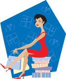 Lady shopping. Lady enjoys her shopping day Vector Illustration