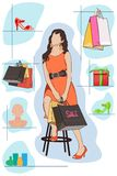 Lady shopping. Easy to edit vector illustration of lady shopping in store stock illustration