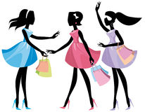 Lady shopping. Silhouettes  girls with shopping bags Stock Image
