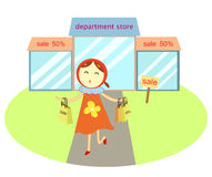 Lady with shopping bag. Lady with shopping bag in front of department store. Vector illustration Royalty Free Stock Image