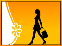 Lady with shopping bag. Lady on showroom on gradient background Stock Photo