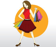 Lady with shopping bag Royalty Free Stock Photography