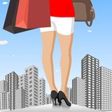 Lady with Shopping Bag in City Stock Photography