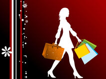 Lady with shopping bags. On abstract background stock illustration