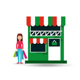 Lady shopping bags gift grocery store Royalty Free Stock Photo