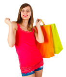Lady Shopping and Dancing Stock Image