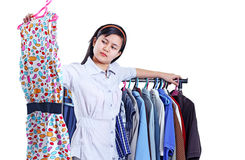 Lady Shopping For A Dress Stock Images
