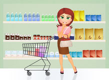 Lady shopping at a grocery Royalty Free Stock Photo