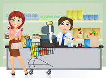 Lady shopping at a grocery Royalty Free Stock Photos