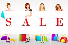 Lady Shopping in Sale Stock Photos