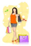Lady shopping in Shoe store. Easy to edit vector illustration of lady shopping in shoe store vector illustration