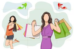Lady shopping in Shoe store. Easy to edit vector illustration of lady shopping in shoe store royalty free illustration