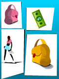 Lady with shopping things. On abstract background Royalty Free Stock Photography