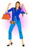 Lady shopping used illustration Stock Images