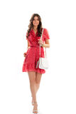 Lady in short red dress. Royalty Free Stock Photos