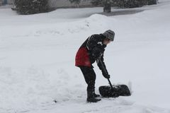 Lady Shoveling Snow. During a heavy snow fall on an overcast afternoon Royalty Free Stock Photos