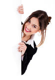 Lady showing blank board Royalty Free Stock Image