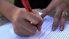 Lady sign paper document with pen. Close up stock video footage
