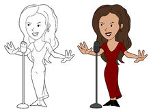 Lady singer cartoon Stock Photo
