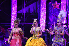 Lady Singer and dancers thai style concert Stock Photography