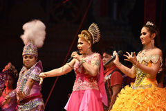 Lady Singer and dancers thai style concert Royalty Free Stock Image