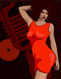 Lady singer soul music, red dress. Retro mic and vinyl on the background. Vector image. Lady singer soul music, red dress. Retro mic and vinyl on the background Royalty Free Stock Photo