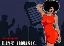 Lady singer soul music, red dress. Retro mic and vinyl on the background. Vector image Royalty Free Stock Photos