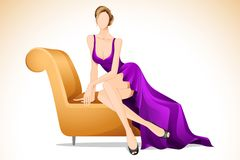 Lady Sitting in Sofa Stock Photo