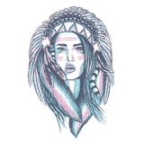 Apache Indian Lady Character hand drawn royalty free illustration
