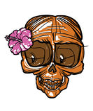 Lady skull with flower. Smiling lady skull with pink flower royalty free illustration