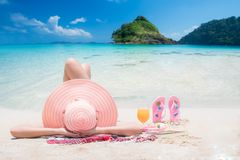 Free Lady Sleep And Relax On The Beach Stock Images - 108147254